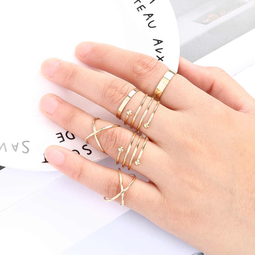 Wholesale 6 Pcs/Set Hot Korea Personality Retro Alloy Toe Ring Gold Color Joint Ring Foot Ornaments
