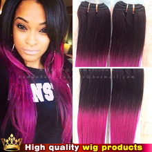 Queen hair products Brazilian Human real hair weave bundles ombre PINK RED color V-irgin hair weave for black woman natural wig