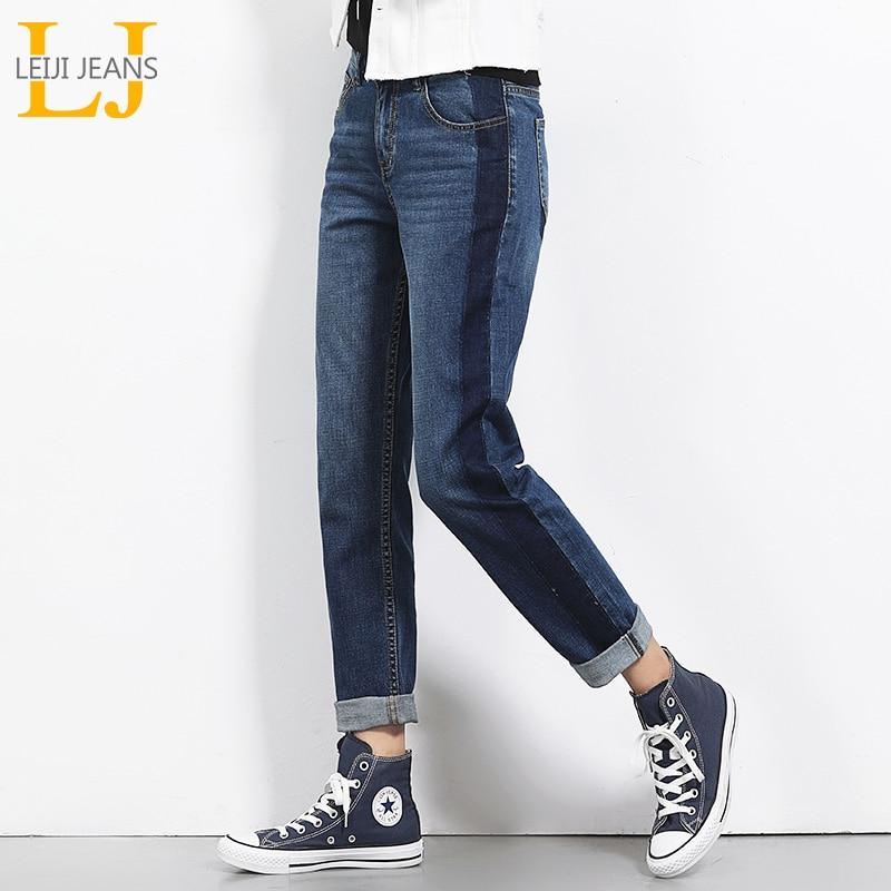 2019 LEIJIJEANS all season Plus Size Shadow boyfriend Bleached women   jeans   Mid Waist Full Length Loose Straight   Jeans   For Women