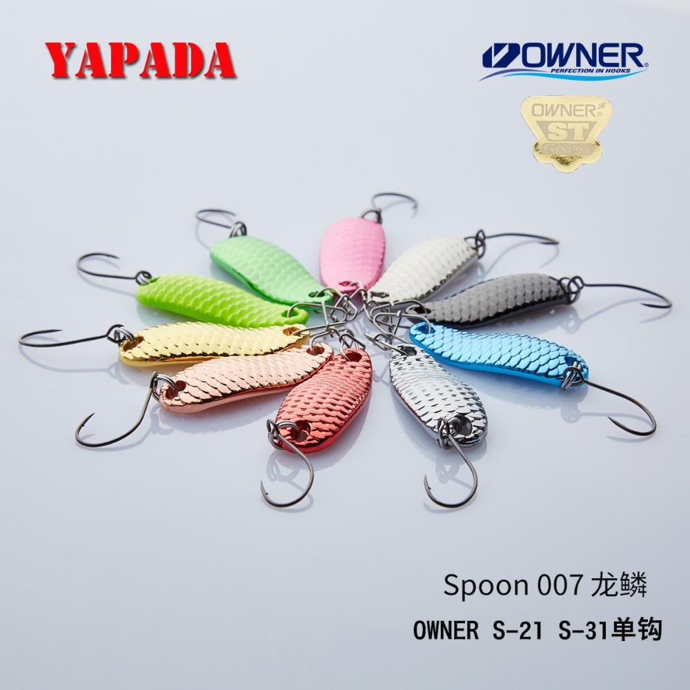 YAPADA Lingura 007 Cantar Loong 2.5g / 3.5g PROPRIETATI Single Cârlig 28-32mm Multicolor Metal Lingură Pescuit Lures
