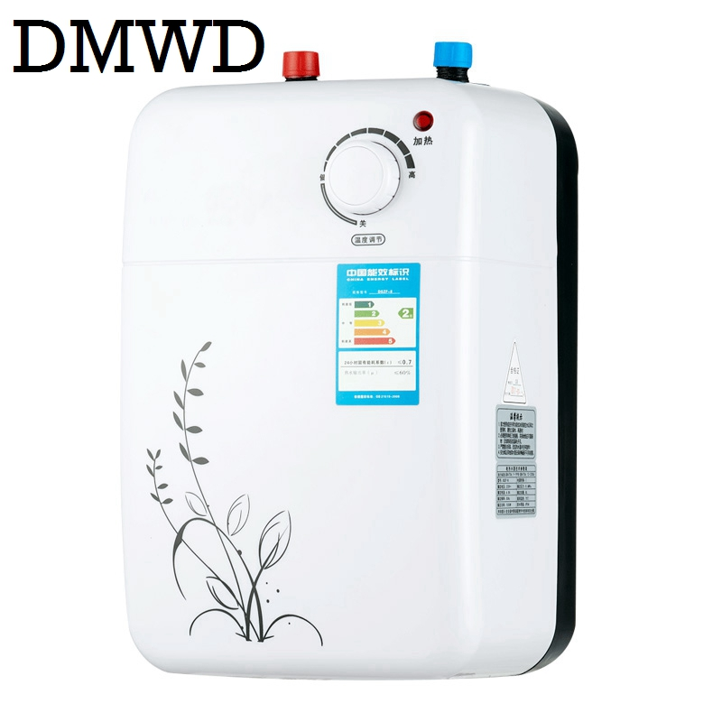 DMWD Tankless Water Storage Heater Instant Electric Hot Water Kitchen Heaters Instantaneous Shower Heating Faucet Tap 8L 1500W