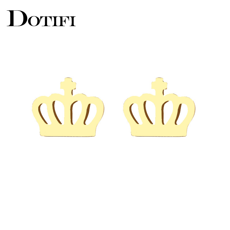 DOTIFI Stainless Steel Stud Earring For Women Elegant Crown Man Gold And Silver Color Lovers Engagement Jewelry Drop Shipping