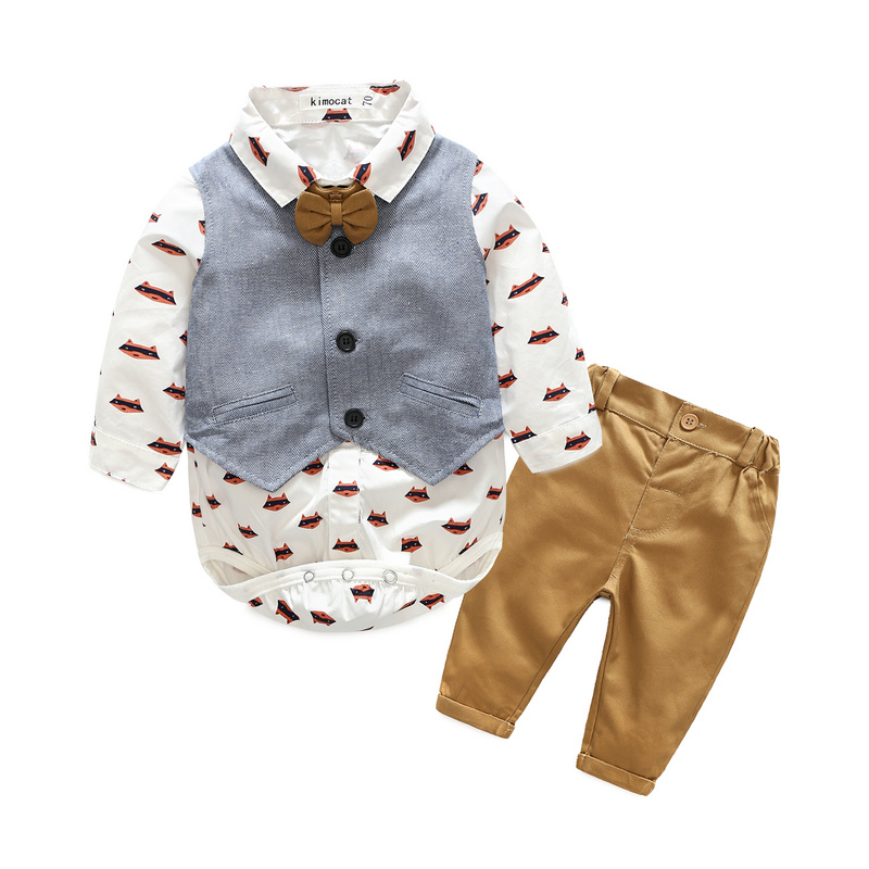 Baby Boys Clothes Sets Gentleman Newborn Clothing Cartoon Print Rompers+Vest+Long Pant Spring Autumn Children Sets 3 Piece Suits cotton baby rompers set newborn clothes baby clothing boys girls cartoon jumpsuits long sleeve overalls coveralls autumn winter