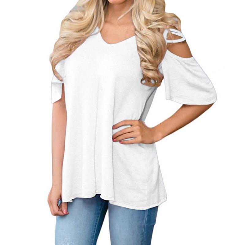 StadigTao 2018 Summer Bare Shoulders T Shirts Women Short Sleeve V-Neck T-Shirt Strappy Ladies Cold Shoulder Off Shoulder Tops