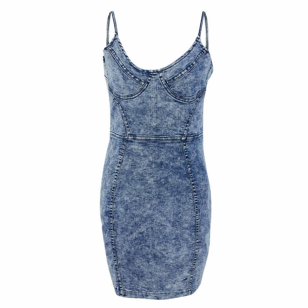 Летние синие джинсы ремень мини платье Женщины сексуальный О-вырез без рукавов, обтягивающее, Бандажное бедра вечерние Клубные платья тонкий деним Vestidos