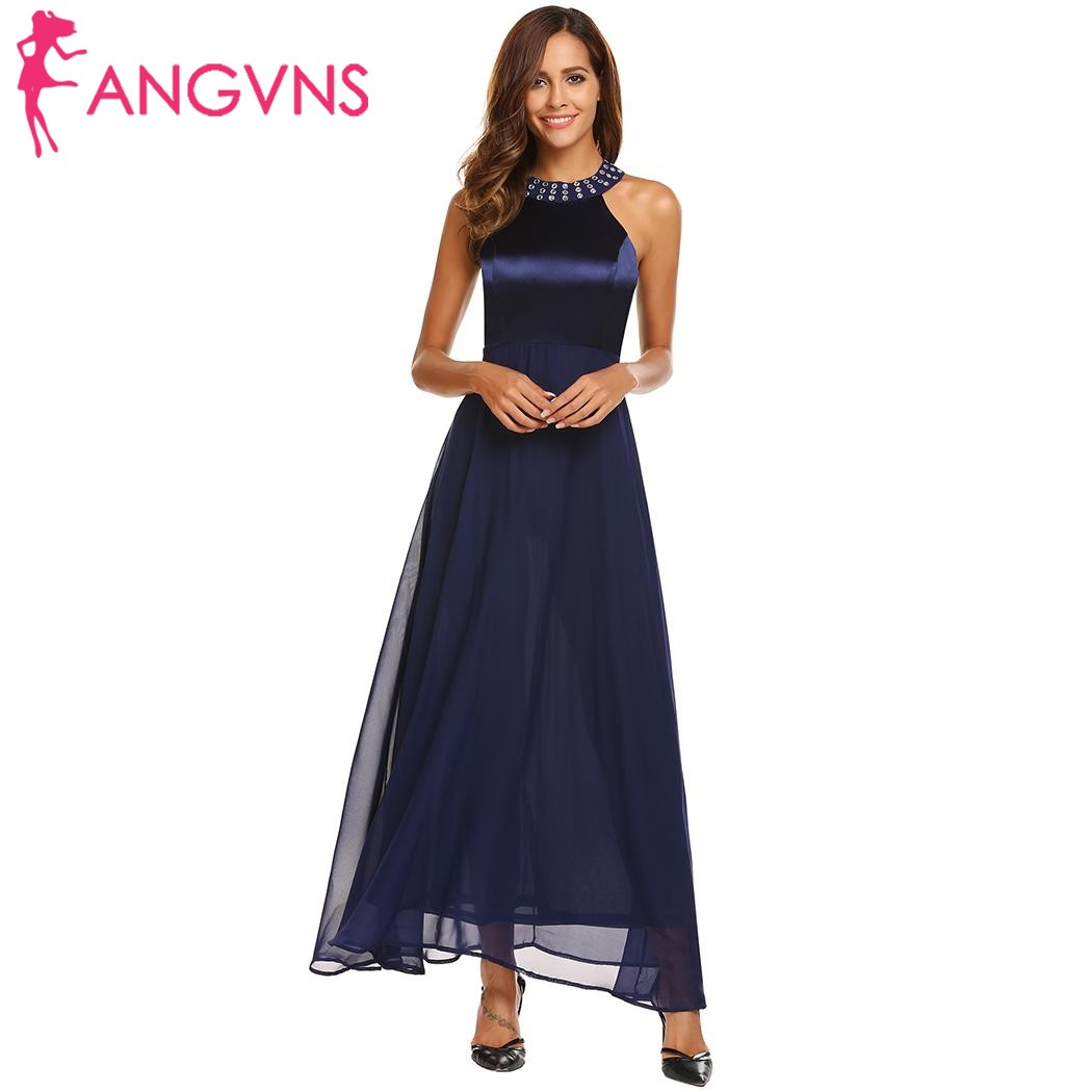 ANGVNS Women Satin Chiffon Party Long Dress Elegant Cold Shoulder  Sleeveless Rhinestones Collar Maxi Dresses Evening Vestidos 380feea5d981