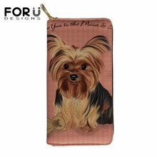FORUDESIGNS Female Yorkie Printing Wallets&Purse Cute Coin Pocket Zipper for Ladies Fashion Cluth Party Phone Holder Girl Wallet