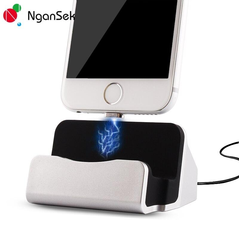 imágenes para Cargador Del Muelle Para el iphone 7 Plus Magnética Cargador USB Cable Cargador Dock Para el iphone 5S SE 6 S Plus iPod Docking Station Imán