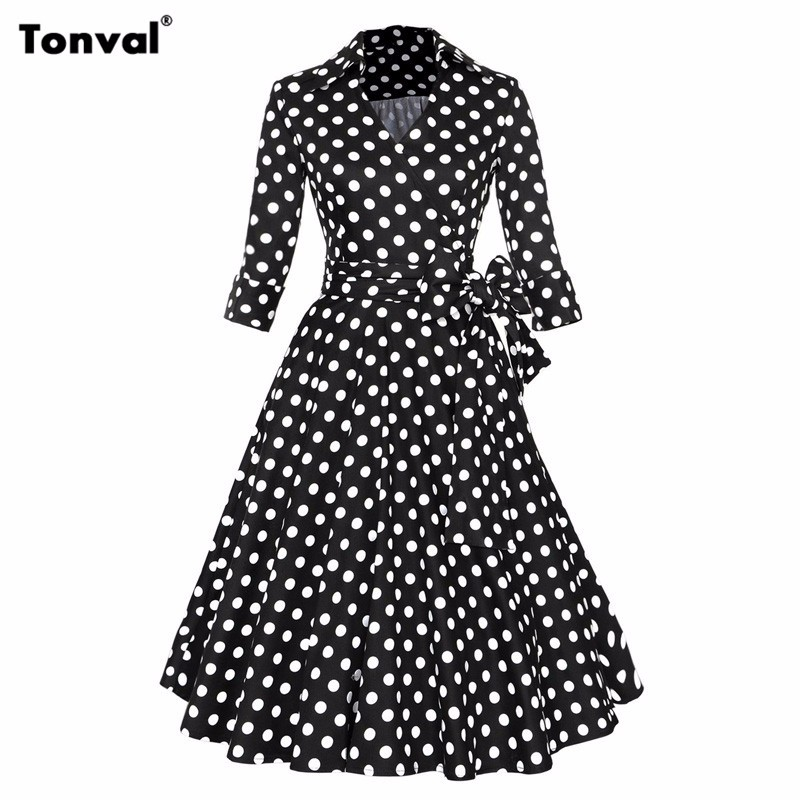 Women Autumn Winter Dress For Formal Evening Party Elegant Bow Casual  Dresses Ladies Belted Vintage Polka 11 12 ... 9f0bd2e7c34b
