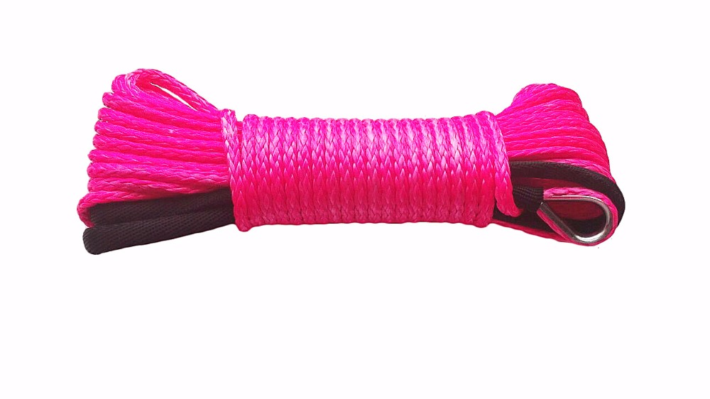 Pink 3/16*50ft Synthetic Winch Rope Cable,ATV Winch Line 4500lbs,ATV Winch Cable,Off Road Rope