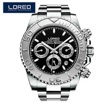 LOREO fashion brand men's watch waterproof automatic luminous stainless steel sapphire diamond elegant diver's sport watch O76
