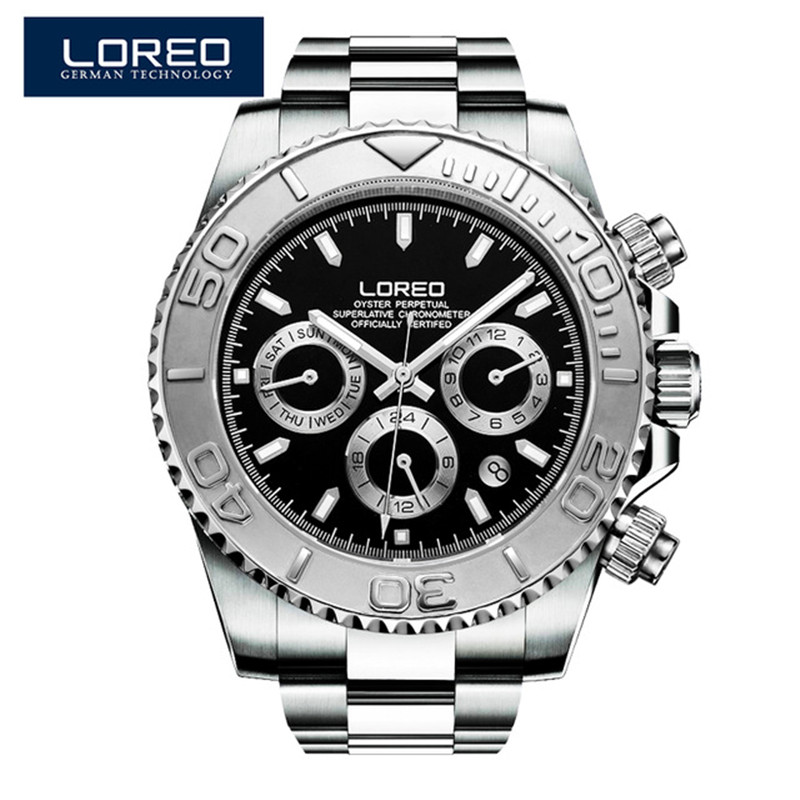 LOREO fashion brand men's watch waterproof automatic luminous stainless steel sapphire diamond elegant diver's sport watch O76