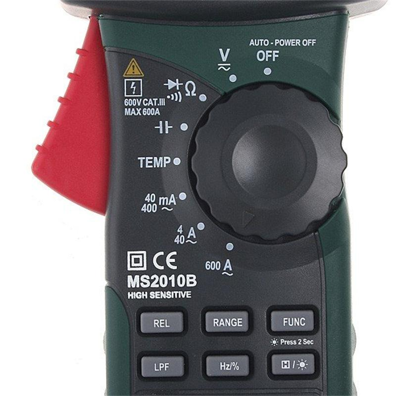 MASTECH MS2010B Digital Clamp Meter AC/DC Mini Handheld Voltage Current Resistance Tester Multimetro with Test Leads Multimeter - 3