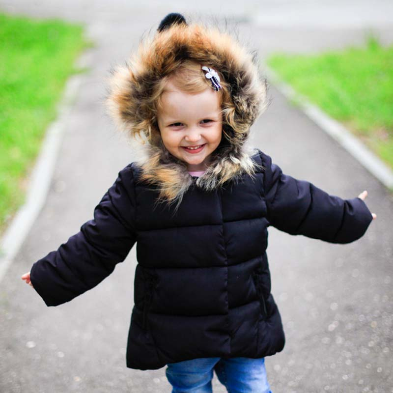 boys and girls winter Coat raccoon fur collar hooded 1 7 years kids down jacket children 39 s parkas Warm winter clothing hot in Down amp Parkas from Mother amp Kids