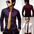 sale! freeshipping solid color men's british style deep purple slim long-sleeve shirt men  1pcs a lot