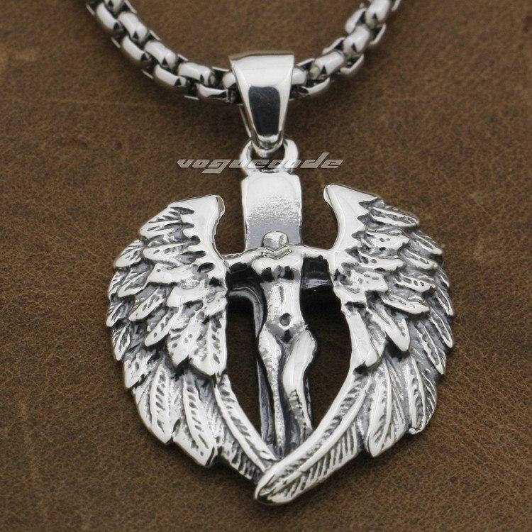 925 Sterling Silver Naked Angel Cross Wings Mens Biker Rocker Pendant 9F022A(Necklace 24inch) 925 sterling silver zircon pendant silver angel wings