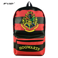 FVIP Harry Potter Backpack Hogwarts Kingdom Hearts Harley Quinn School Bags Travel Backbags For Young