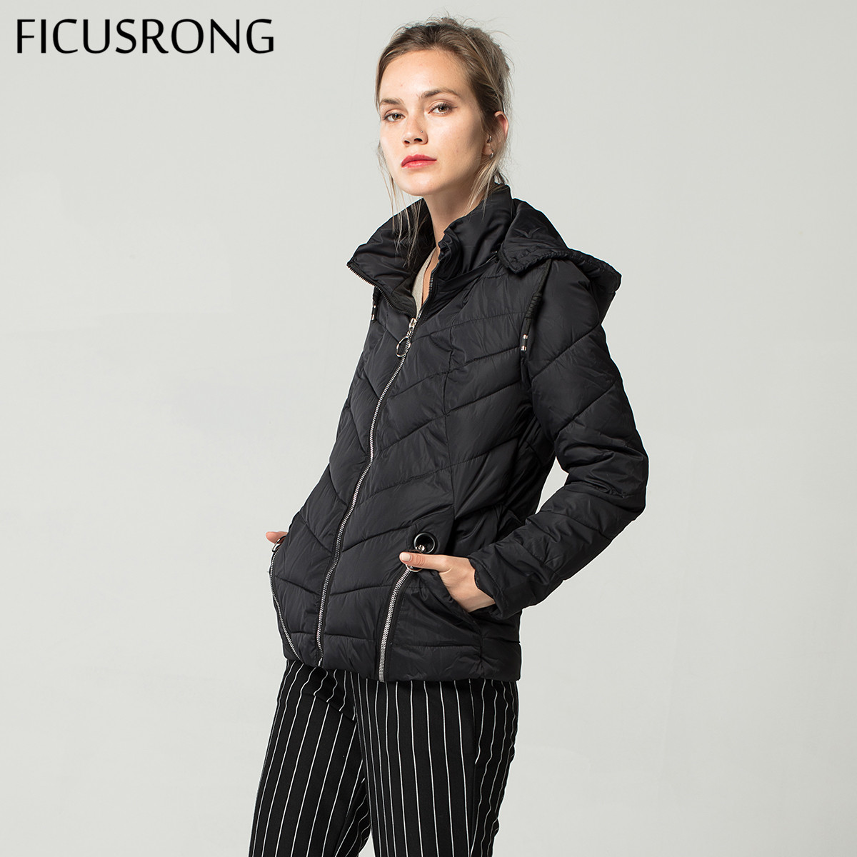Fashion Short Soft Spring Autumn   Basic     Jacket   Women Cotton Padded   Jacket   Female Outerwear Womens Hooded Coats Tops FICUSRONG