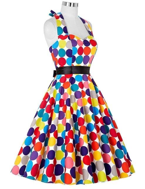2018 Spring Women's Vintage 50s 60s Hepburn Wind Evening Party Colorful Polka Dot Dress Vestido De Festa
