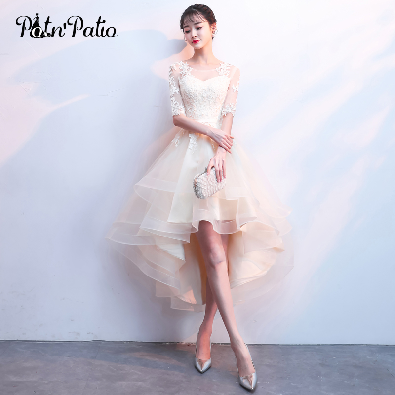 Elegant High Low Champagne   Bridesmaid     Dress   2018 Sexy Lace Backless Tulle Lace Up Formal Wedding Party   Dress   Plus Size   Dresses