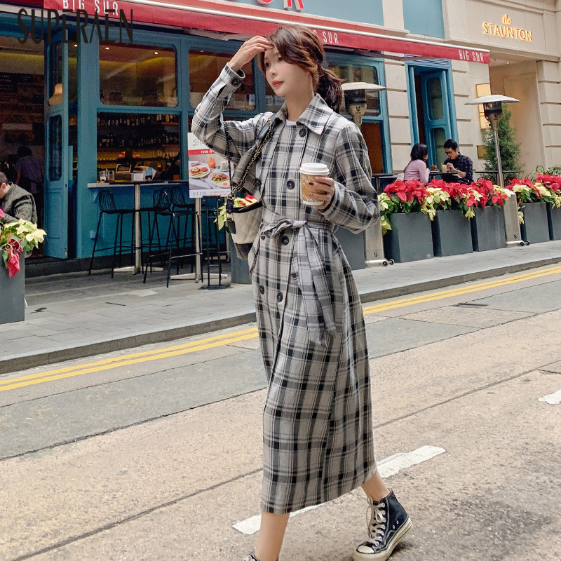 SuperAen Windbreaker Female 2019 Autumn New Fashion Casual   Trench   Coat for Women Korean Style Wild Cotton Plaid Women Clothing