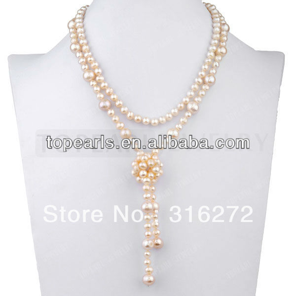 Topearl Jewelry Elegant Pink Freshwater Cultured Pearl Necklace 17Inch Women Pearl Jewelry ND639175