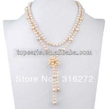 Joyería Topearl Rosado Elegante Mujeres Joyería de Perlas Cultivadas de agua dulce Collar de Perlas 17 Inch ND639175