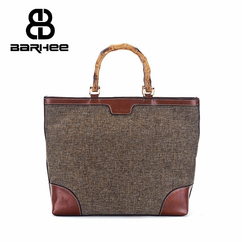BARHEE Genuine Leather Brand Designer Luxury Women Handbag Bamboo Handle Ladies Large Tote Bag Linen Fabric Bolsas Cowhide Bag