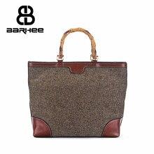 BARHEE Genuine Leather Brand Designer Luxury Women Handbag Bamboo Handle Ladies Large Tote Bag Linen Fabric Bolsas Cowhide Bag