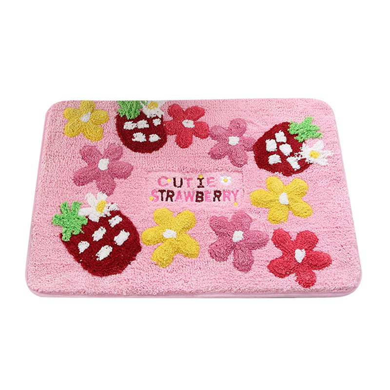 50 70cm Strawberry Pattern Doormat Antiskid Floor Mat Household Bedroom Bedside Carpet Princess Lovely Bathroom Rugs Kitchen Pad