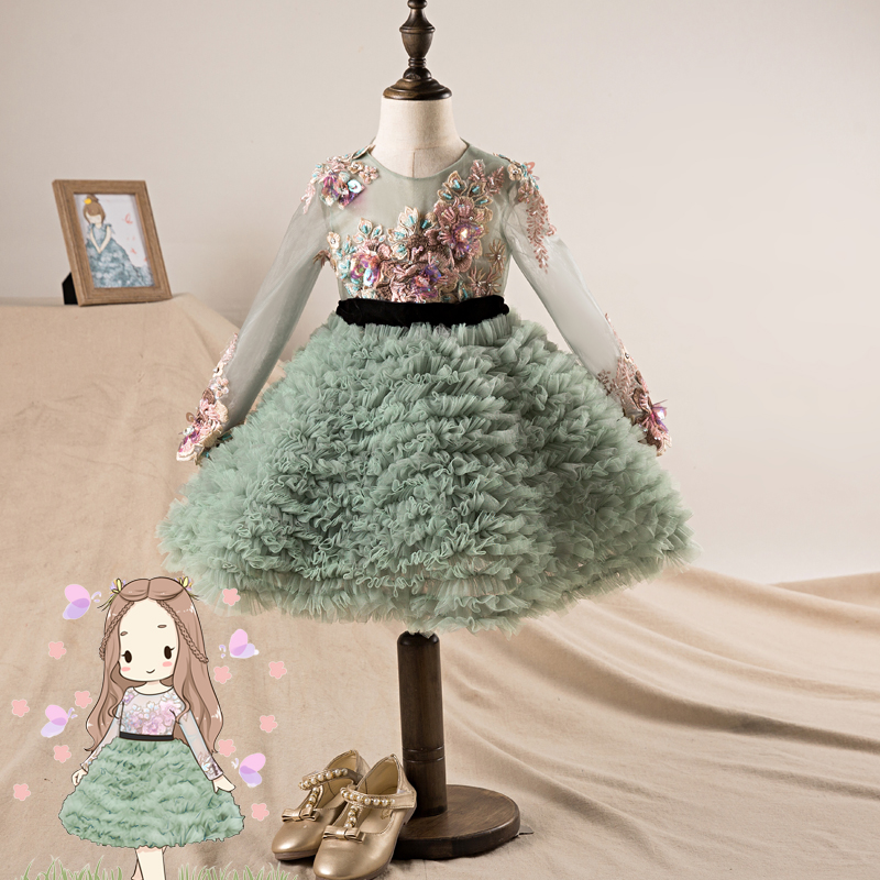 New Design Ball Gown for Little Girls Lace embroidery Print Flowers Girl Dresses Sleeveless Pageant Dress