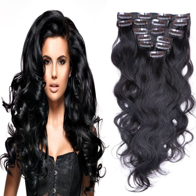 African American Clip In Human Hair Extension 8pcs Natural Clip In