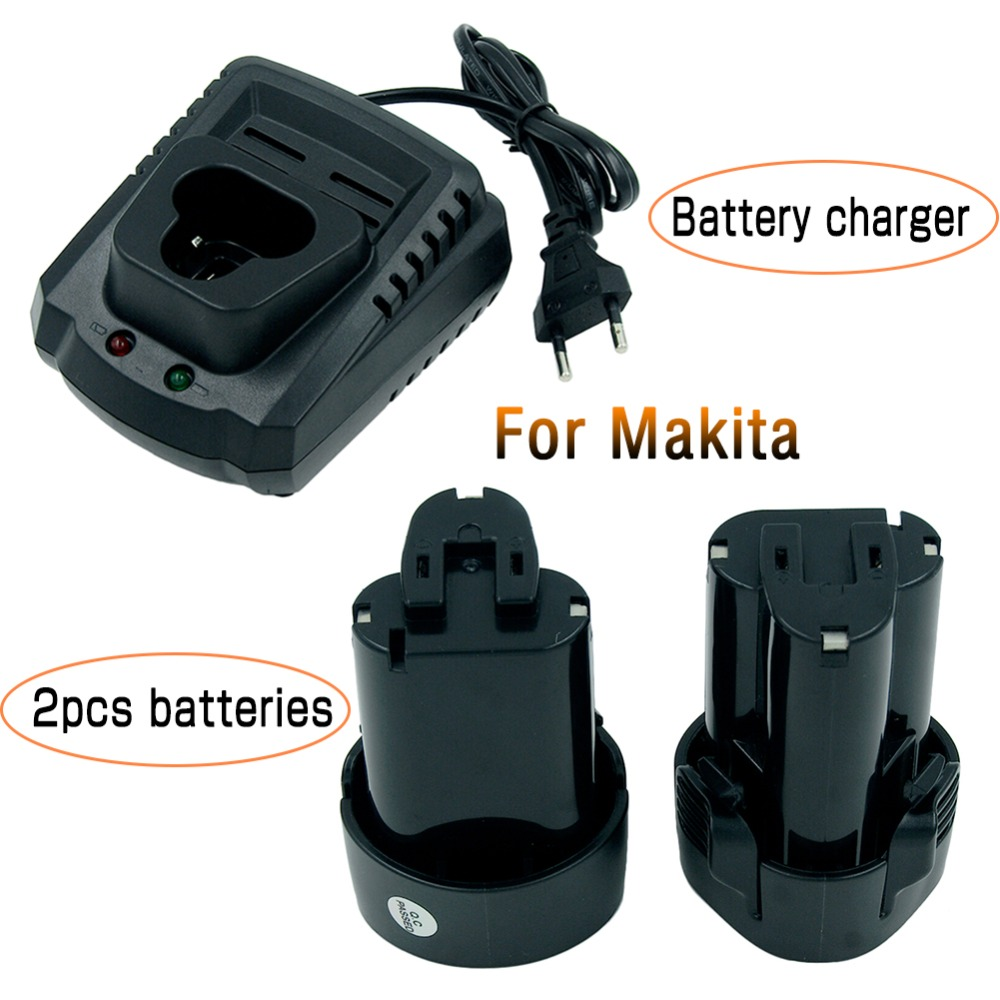 2PCS BL1013 10.8V 2.0Ah Li-ion Rechargeable Power Tool Battery for MAKITA 194550-6 194551-4 + DC10WA Charger EU Plug 14 4v 3000mah power tool battery li ion for metabo 6 25482 bsz 14 4 impuls li bsz14 4