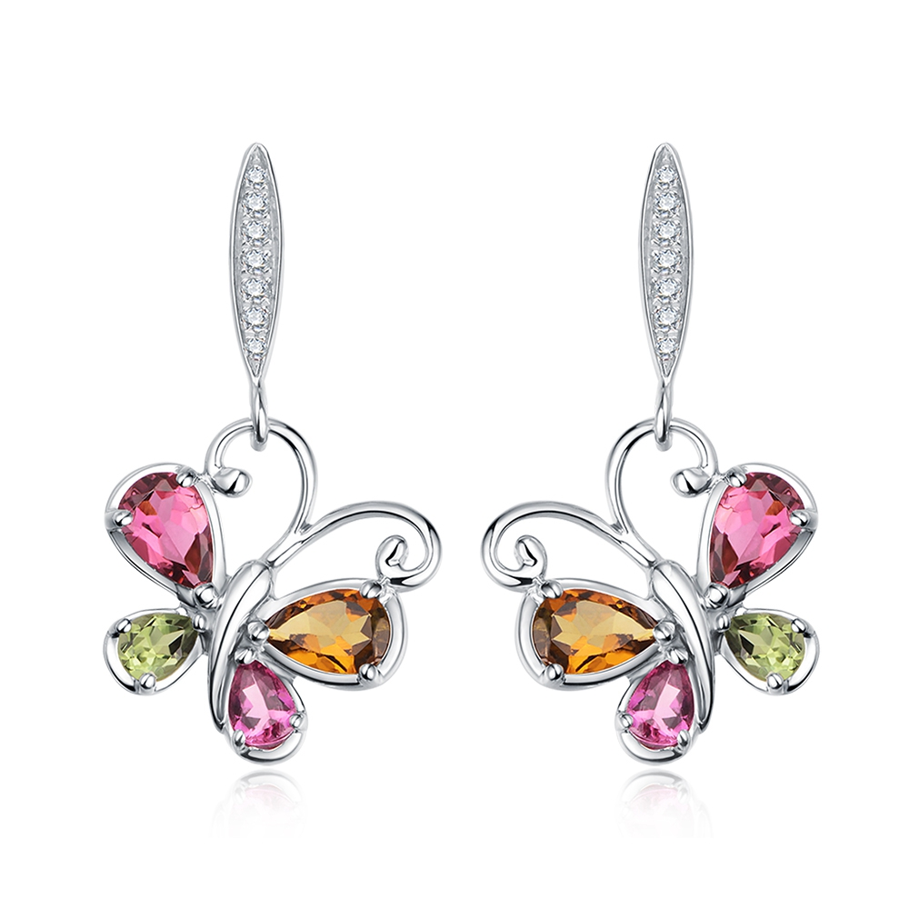 3.0ct Natural Colorful Tourmaline Gem Sterling Silver Flying Butterfly Dangle Earrings 1pc bohemian style colorful butterfly earrings