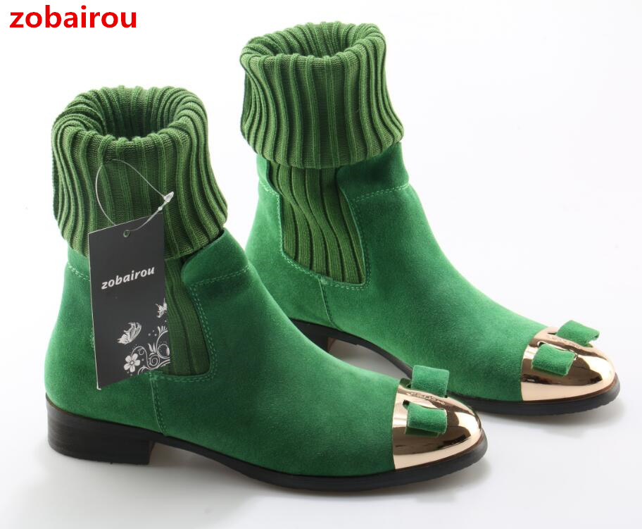 Zobairou Beauty Bowtie Winter Women Knee High Boots Flats Dress Shoes Woman New Autumn Wool Long Boots Metal Toe Lady Snow Botas ppnu woman winter nubuck genuine leather over the knee snow boots women fashion womens suede thigh high boots ladies shoes flats