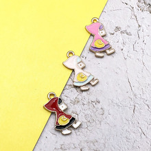 10pcs/lot Fashion Enamel Metal Color Charms Backpack Little Girls Lady DIY Necklace Pendant Jewelry Accessory Findings YZ372 10 mixed random color alloy enamel metal cat tree branches charms girls women diy necklace pendant fashion jewelry findings