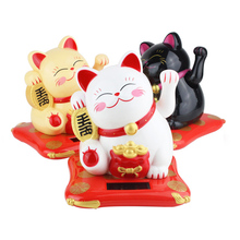 New Interesting Waving Hands Lucky Cat Wealth Fortune Cat Ornament for Home Office Checkou