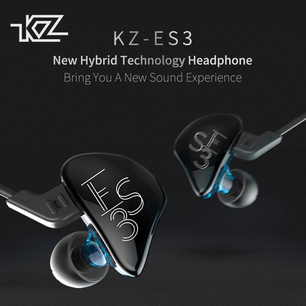 KZ ES3 Headphone Hybrid Dynamic And Balanced Armature Earphone HIFI Stereo Sport Headset Suitable Bluetooth Detachable Cable