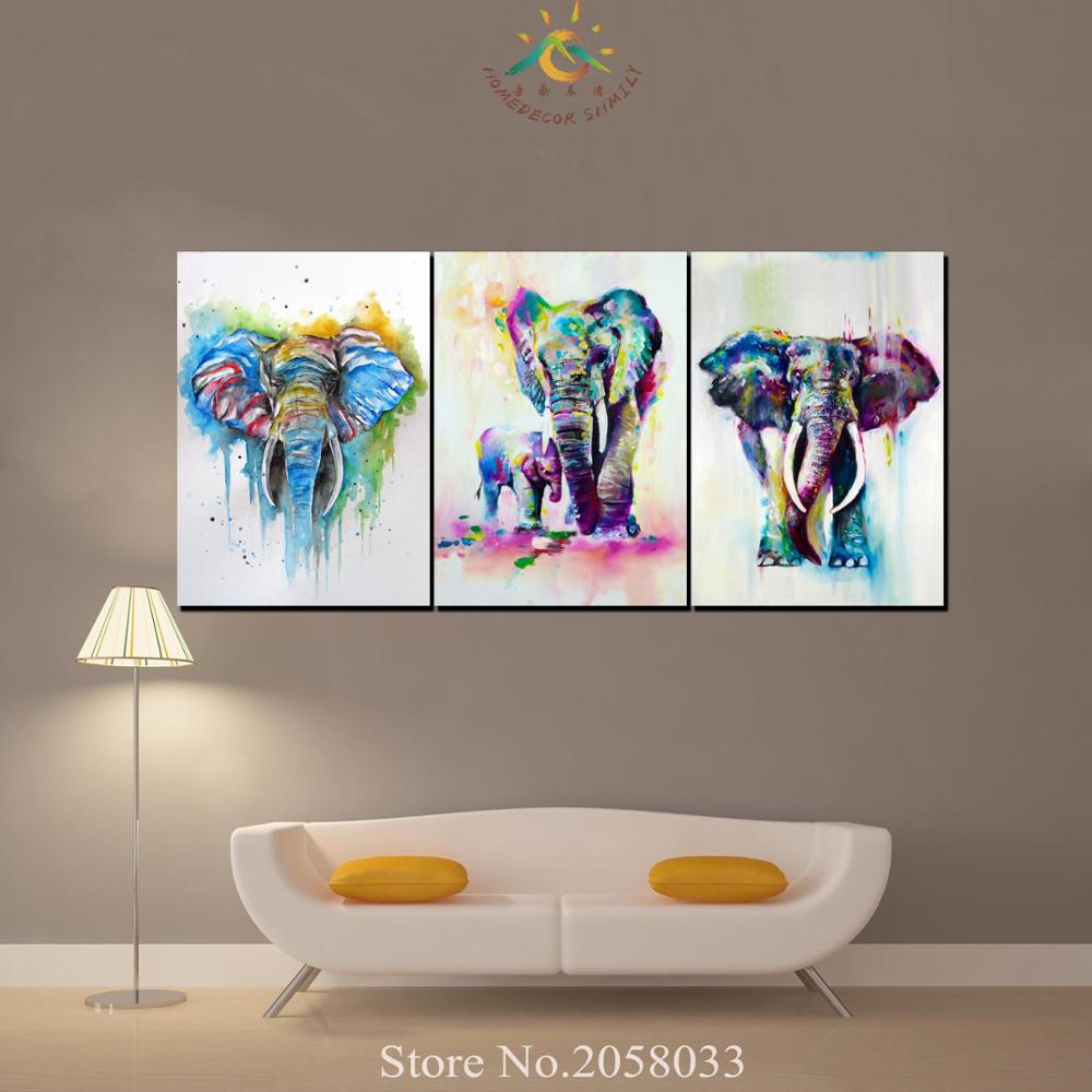 3 Pieces African Elephant and baby Modern Wall Art Canvas Printed Painting HD Prints Modular Poster Wall Pictures for Home Decor in Painting Calligraphy from Home Garden
