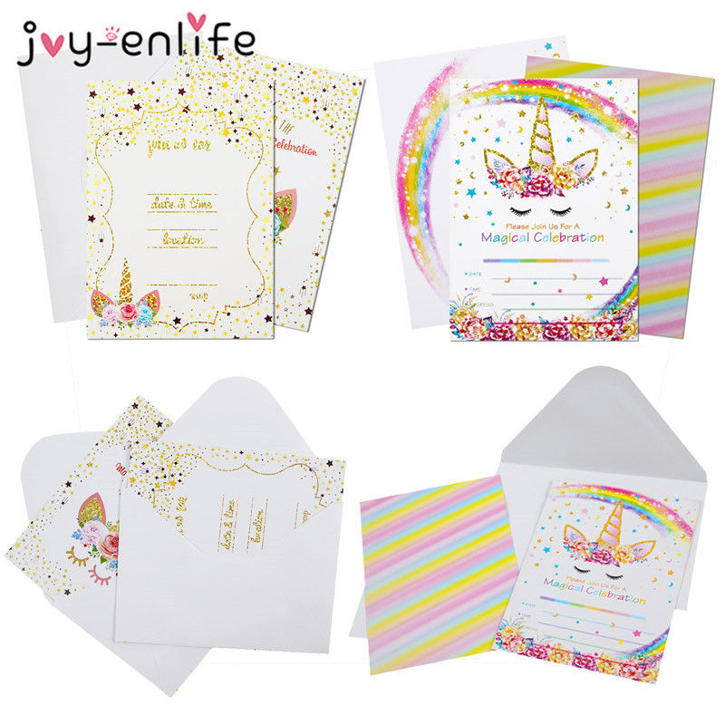 Us 1 68 26 Off 6pcs Unicorn Invitations Card Unicornio Party Happy Birthday Party Kids Decorations Kids Favors Invitation Cards With Envelopes In