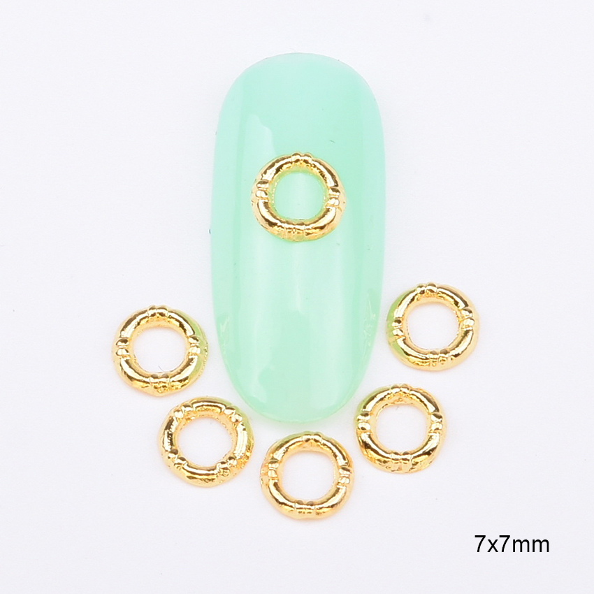 10pcs Glossy Round Nails Supplies Gold Alloy 3D Nail Piercing Strass