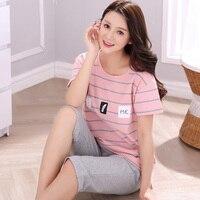 Plus Size Pajama Sets For Women Cotton Casual Striped Pajamas Pijama Girls Knee Length Pants Sleepwear