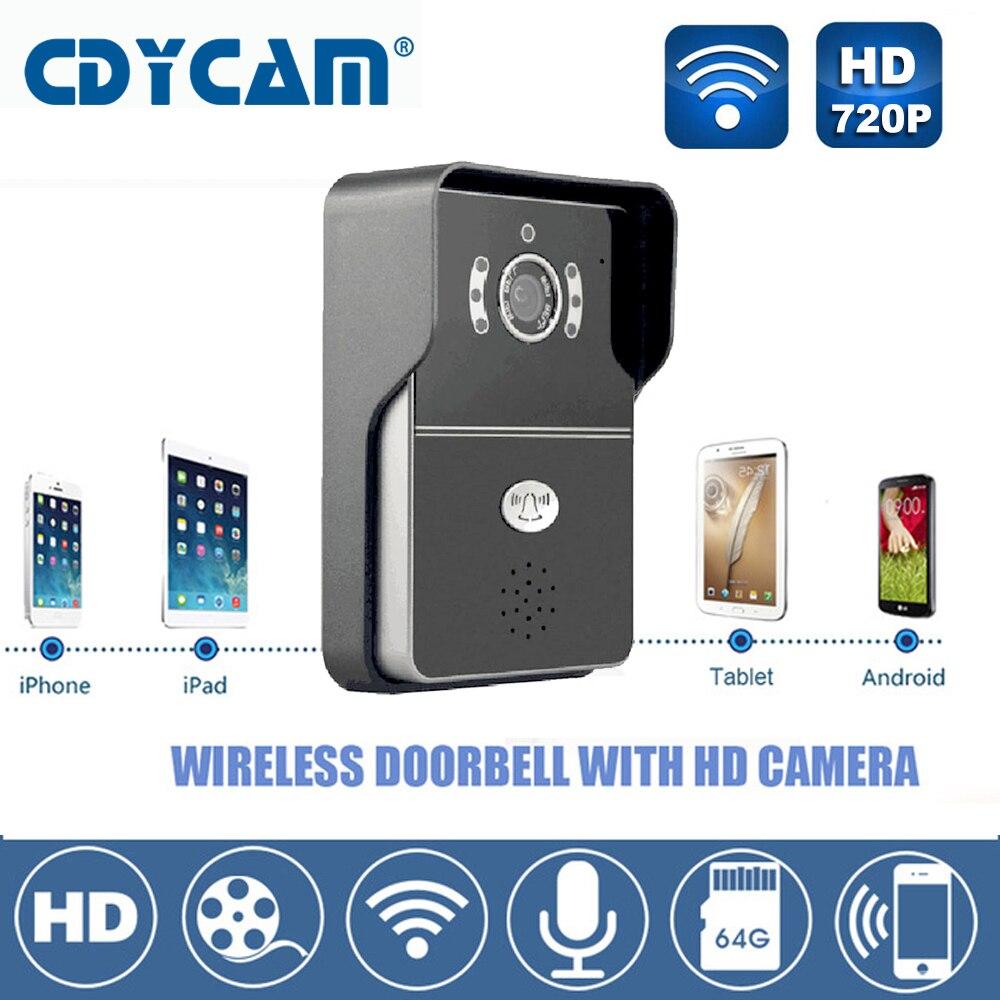 imágenes para Hi3518E timbre wifi IP Cámara 1.0MP HD 720 P IR-CUT wireless timbre de la puerta soporte H2.64 5 usuarios 2.1mm lente Noche visión A Prueba de agua