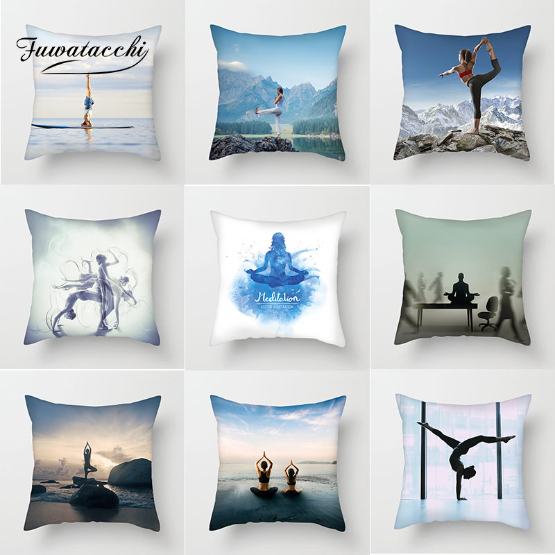 Home & Garden Home Textile Fuwatacchi Yoga Sports Pillow Cover Yoga Scenic Decorative Pillows Sofa Bedroom Living Room Decoration 45*45 Cm Cushion Cover