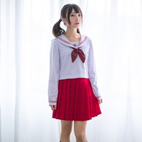 UPHYD Japanese Student Uniform Lolita School Uniforms Sakura Embroidery High School Sailor Suits Top+Skirt+Tie
