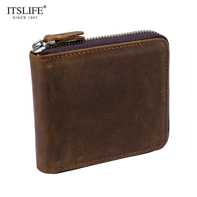 016e905419b9b Men s Crazy Horse Leather Wallet Brown Short Zipper around Business Card  Cases coin purse cowboy wallet genuine leather wallet
