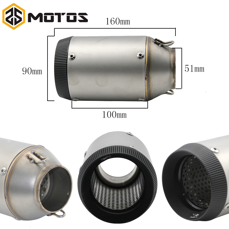 ZS MOTOS Universal Carbon Fiber Motorcycle Exhaust Pipe Muffler with Customized Inlet 51mm SC Motorbike Exhaust free shipping carbon fiber id 61mm motorcycle exhaust pipe with laser marking exhaust for large displacement motorcycle muffler