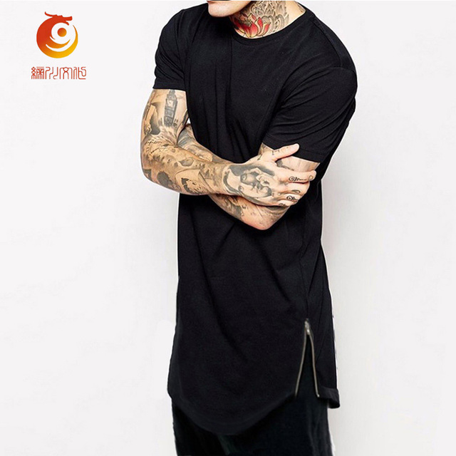 T-shirt Men Long T Shirt Curved Hem TShirts Black Short Sleeve Side Zip  Oversized T Shirt casual men Longline Tops Tee Camiseta 55bef4f8e32