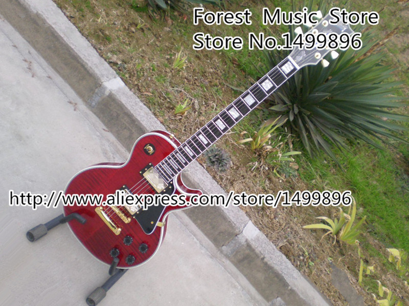 Classical Dard Red LP Custom Electric Guitars Ebony Fretboard China Body & Kits Left Handed Available цены