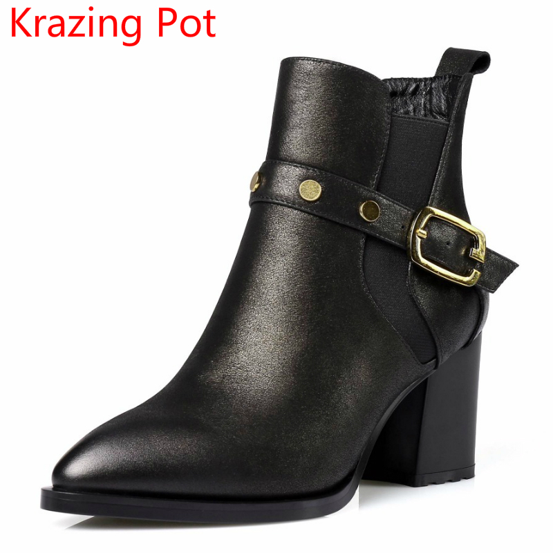 2018 New Arrival Genuine Leather Pointed Toe Rivets Metal Buckle Fashion Winter Boots High Heels Handmade Women Ankle Boots L2f5 new arrival genuine leather rivets thick heel round toe metal decoration women ankle boots handsome motorcycle winter boots l50